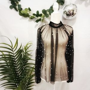 Sheer Pearl Embellished Party Blouse